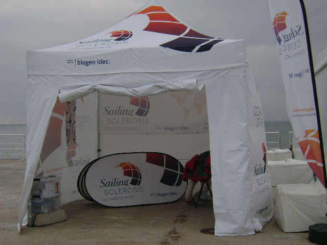 One of the tents set up to promote the project.